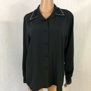 Vintage Yves St Clair Womens Blouse Size 14 Beaded